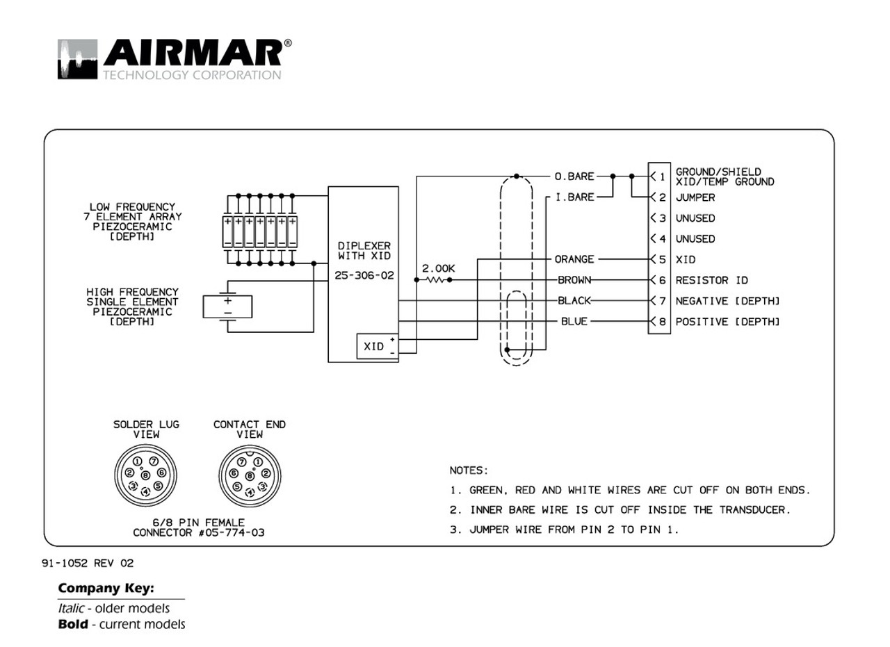 Airmar Wiring Diagram Garmin M260 8 Pin D Blue Bottle Marine For 6 Connector Depth Only Transducers With 8g