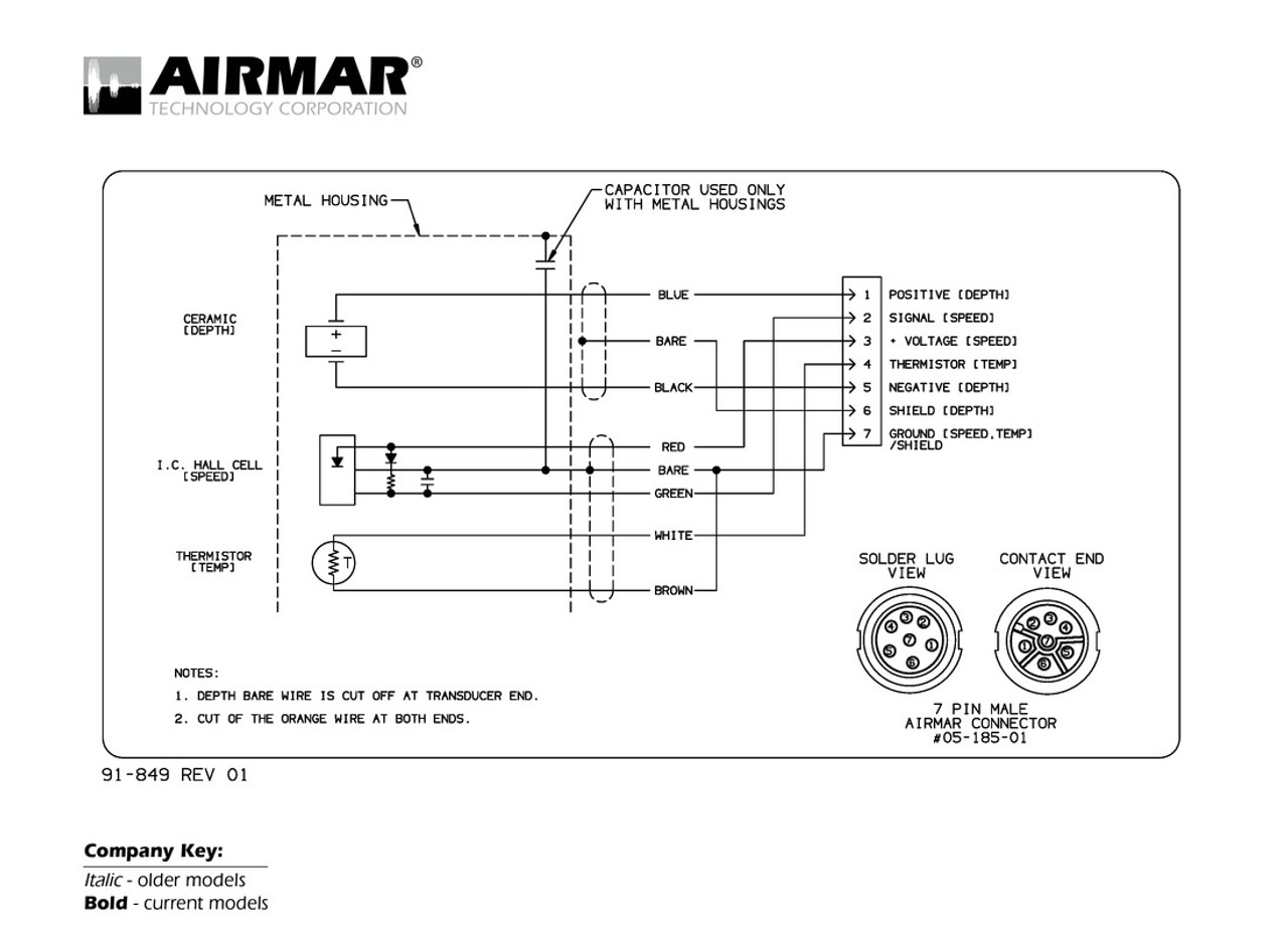 airmar wiring diagram lowrance simrad 7 pin (d,s,t) blue bottle marinedepth, speed \u0026 temperature transducers with lowrance simrad 7 pin connector (