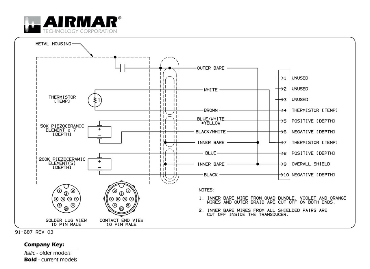 Northstar Wiring Diagram Library Generator Depth Temperature 1kw Transducers With 10 Pin Connector 10n