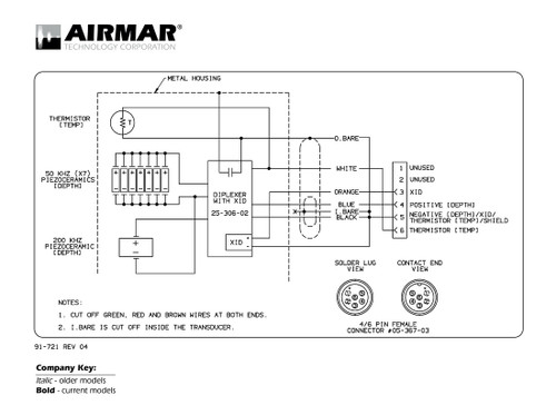 airmar wiring diagram garmin 1kw 6 pin (d, t) blue bottle marinedepth \u0026 temperature 1kw transducers with xducer id and garmin 6 pin connector (