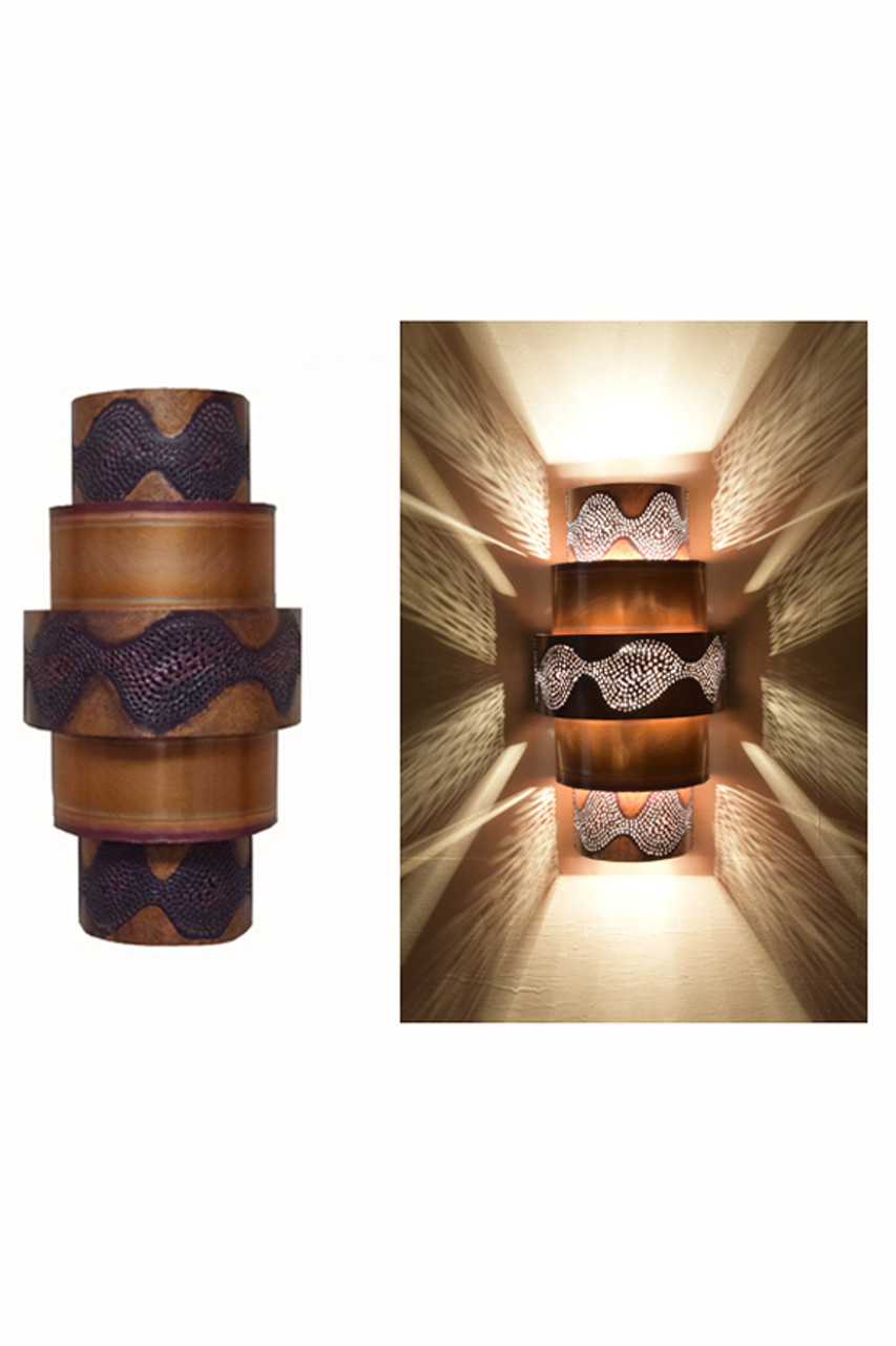 Unique copper ziggurat wall sconce light contemporary day and night view of the burned ziggurat wall sconce all the burned copper ziggurat aloadofball Choice Image