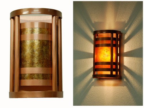 Wall sconces indoor outdoor wall lighting column wall sconce light antique copper finish with amber mica small size aloadofball Choice Image