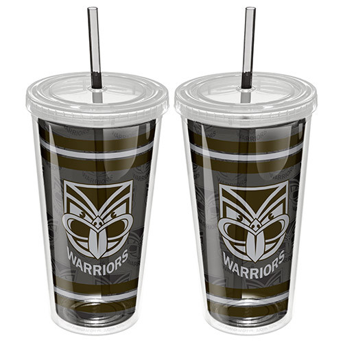 Warriors Tumbler with Straw