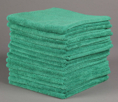 16x16 Green Microfiber Terry Towel