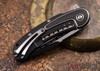 Todd Begg Knives: Steelcraft Series - Bodega - Black Frame - Black Scallop Pattern - Two-Tone Blade