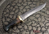 Jesse Hemphill Knives: Custom Damascus Serpentine Fighter - Dyed Burl