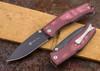 Steel Will Knives: Mini Gekko 1555 - Maroon Micarta - D2 Steel - PVD Coating