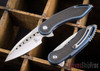 Todd Begg Knives: Steelcraft Series - Mini Glimpse - Carbon Fiber Inlay - Blue Titanium - Satin Blade