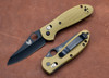 Benchmade Knives: 555BKHGSN Mini-Griptilian - Black Sheepsfoot Blade - Sand
