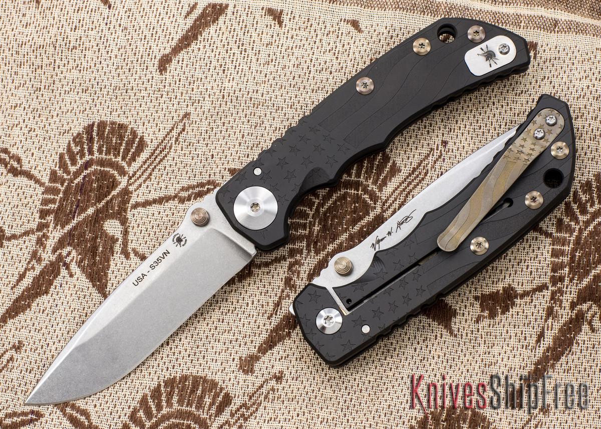 Spartan Blades: Special Edition Harsey Folder - Flag Engraving - Black PVD - Stonewashed Blade primary image