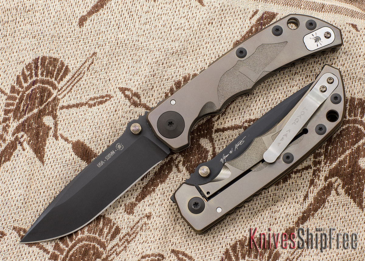 Spartan Blades: Special Edition Harsey Folder - Helmet Engraving - Bronze Anodized - Black PVD Blade primary image