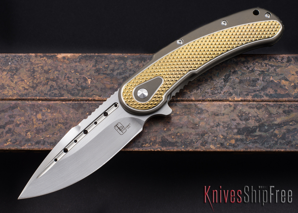 Todd Begg Knives: Steelcraft Series - Bodega - Bronze & Gold - Diamond Pattern - Satin Blade primary image