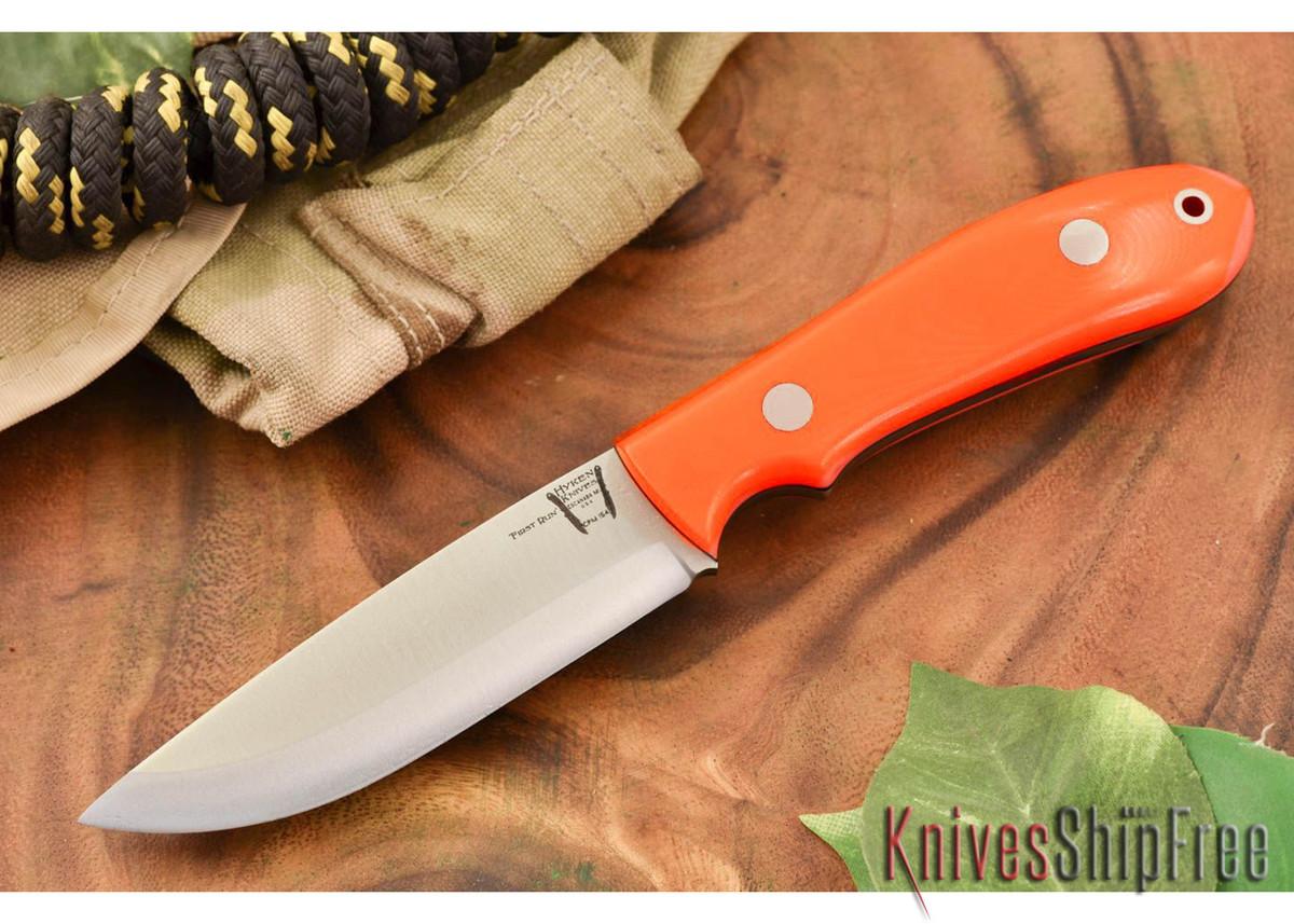 Hyken Knives: Bushcrafter CPM-154 - Blaze Orange G-10 - Black Liners primary image
