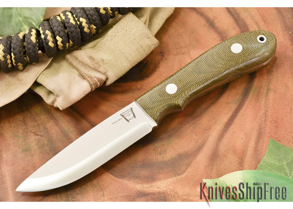 Hyken Knives: Bushcrafter CPM-154 - Green Canvas Micarta primary image