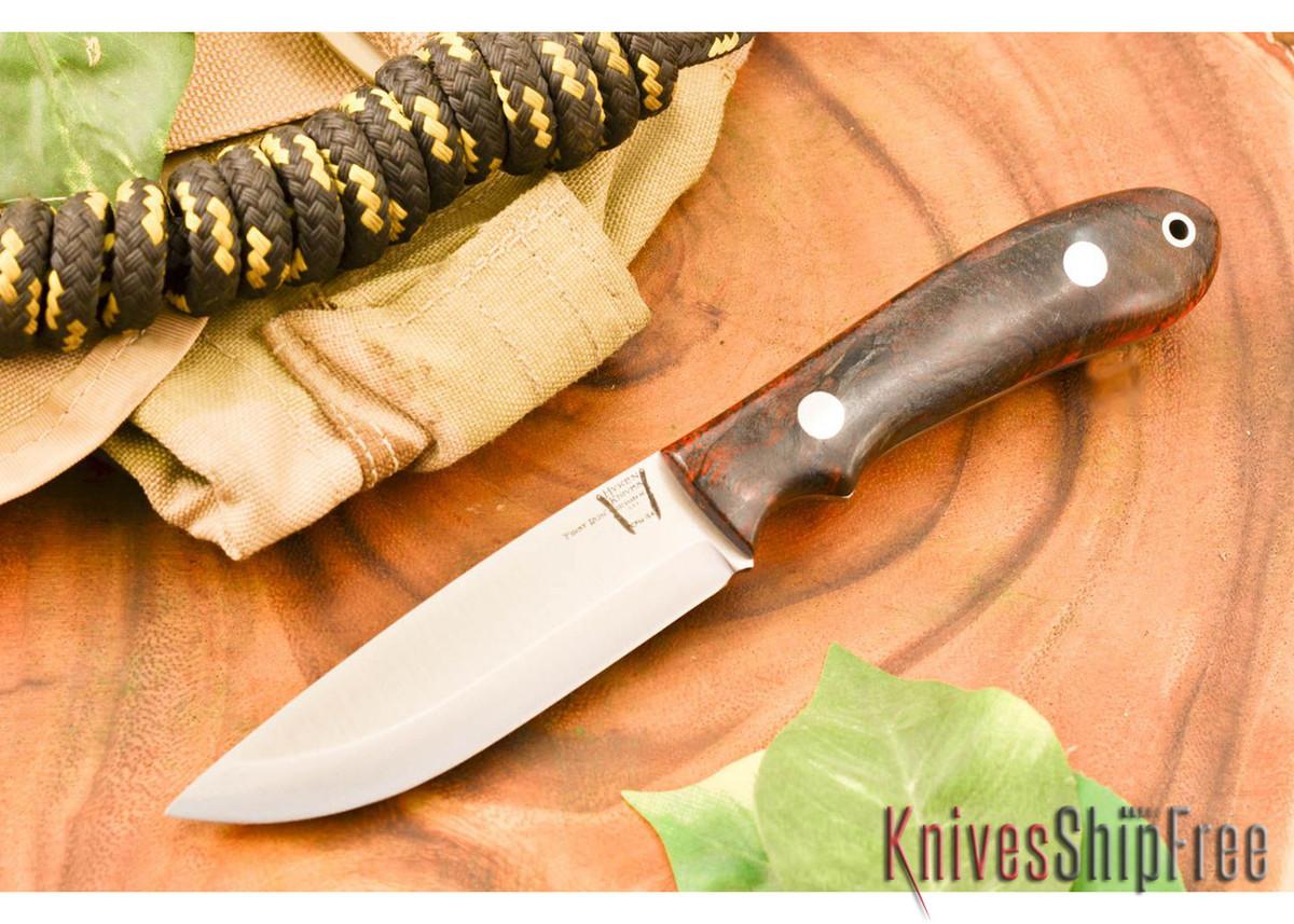 Hyken Knives: Bushcrafter CPM-154 - Black & Scarlet Elder Burl primary image