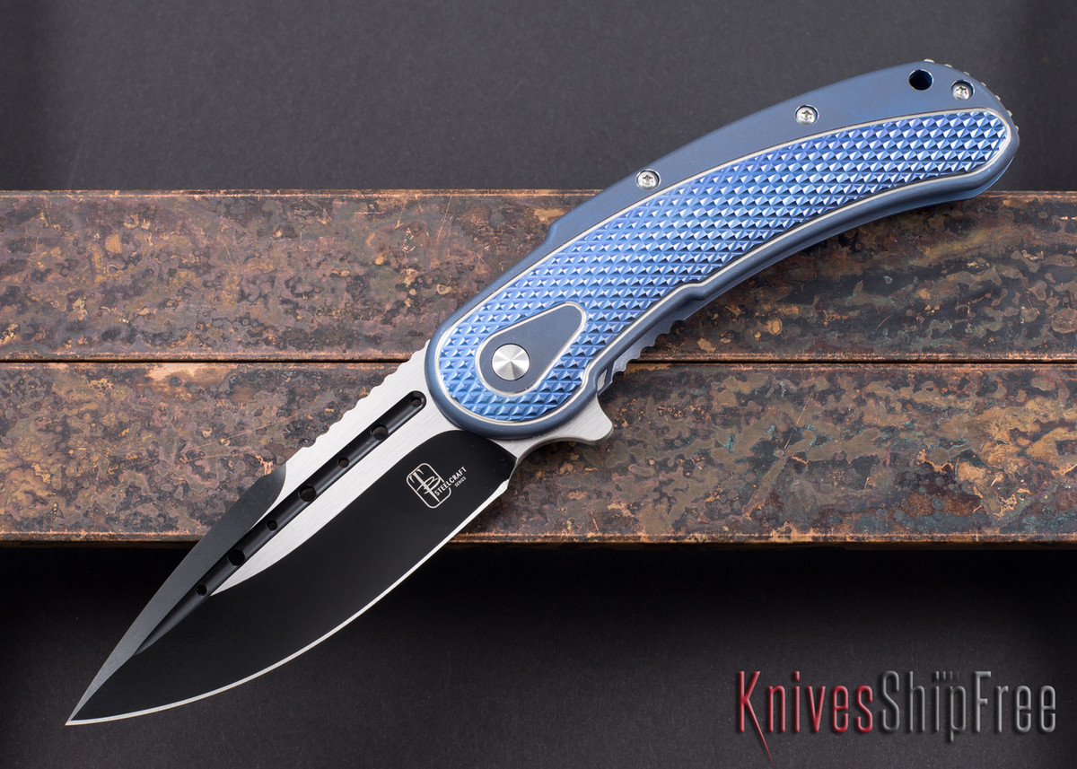 Todd Begg Knives: Steelcraft Series - Bodega - Blue Frame - Blue Diamond Pattern - Two-Tone Blade primary image