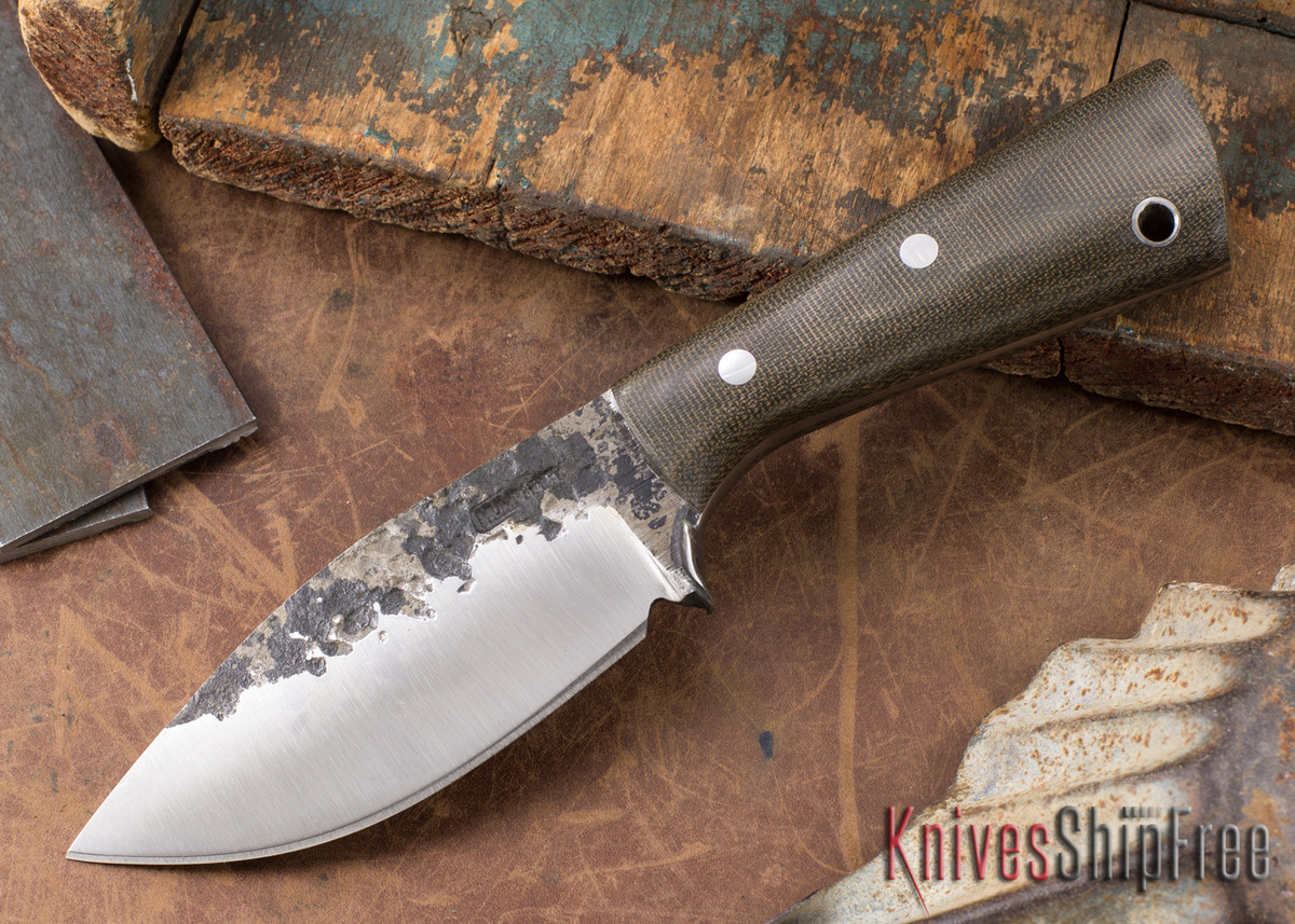 Lon Humphrey Knives: Custom Brute - Green Canvas Micarta - Spear Point #12 primary image