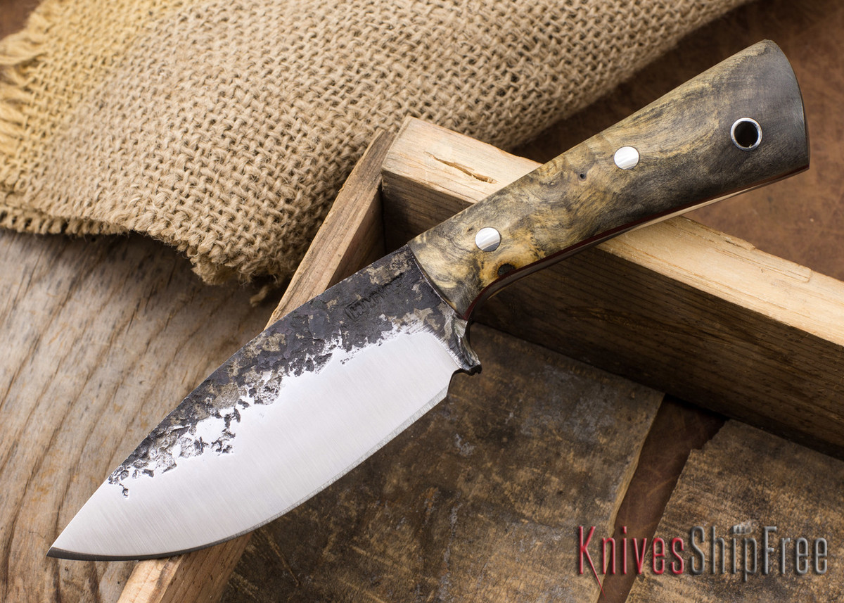 Lon Humphrey Knives: Custom Brute - Buckeye Burl - Red Liners - Spearpoint - 01 primary image