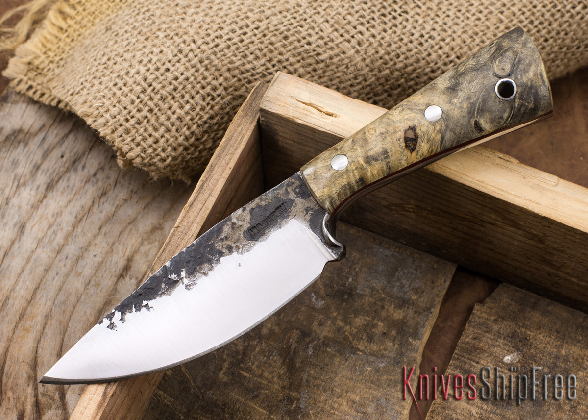 Lon Humphrey Knives: Custom Brute - Buckeye Burl - Red Liners - Drop Point - 05 primary image