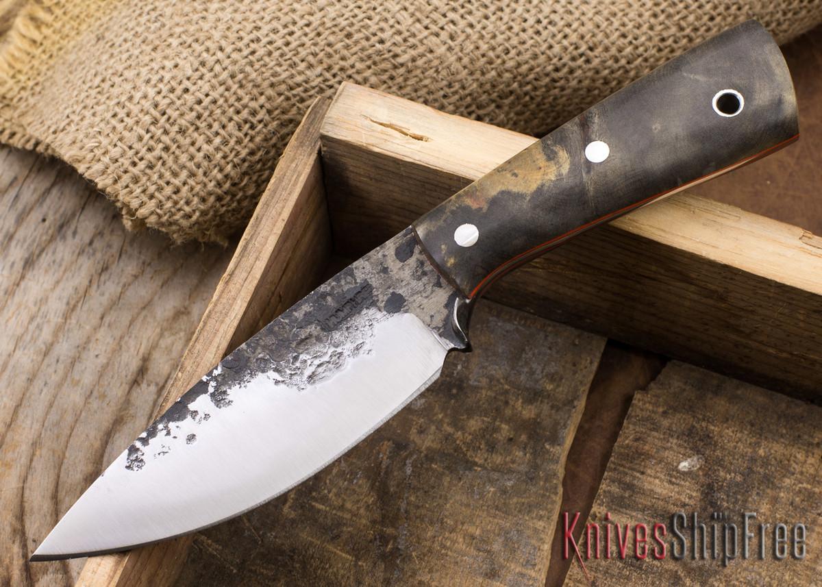 Lon Humphrey Knives: Custom Brute - Buckeye Burl - Orange Liners - Drop Point - 11 primary image
