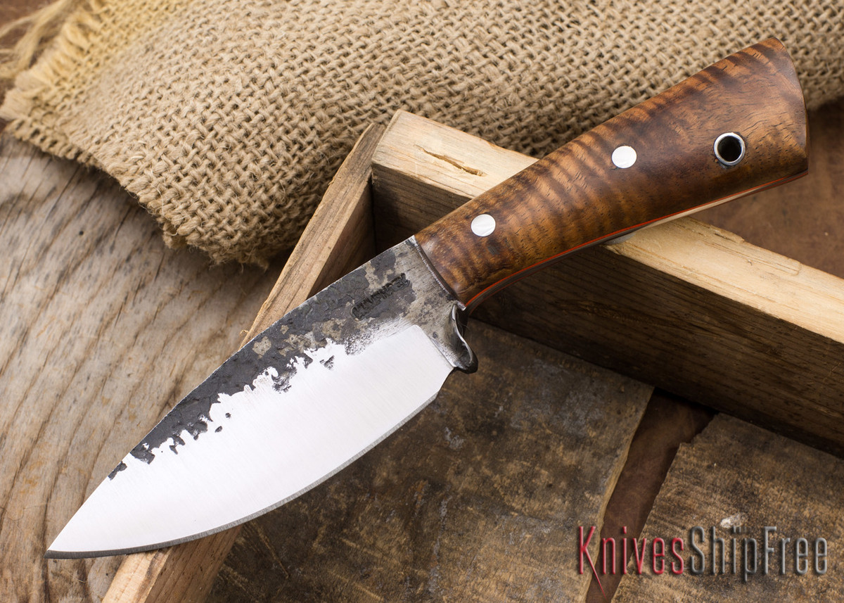 Lon Humphrey Knives: Custom Brute - Curly Koa - Orange Liners - Spear Point - 19 primary image