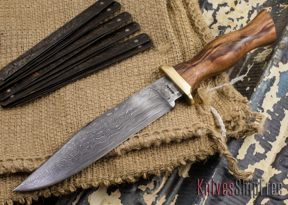 Jesse Hemphill Knives: Custom Damascus Bowie - Goncolo Wood primary image