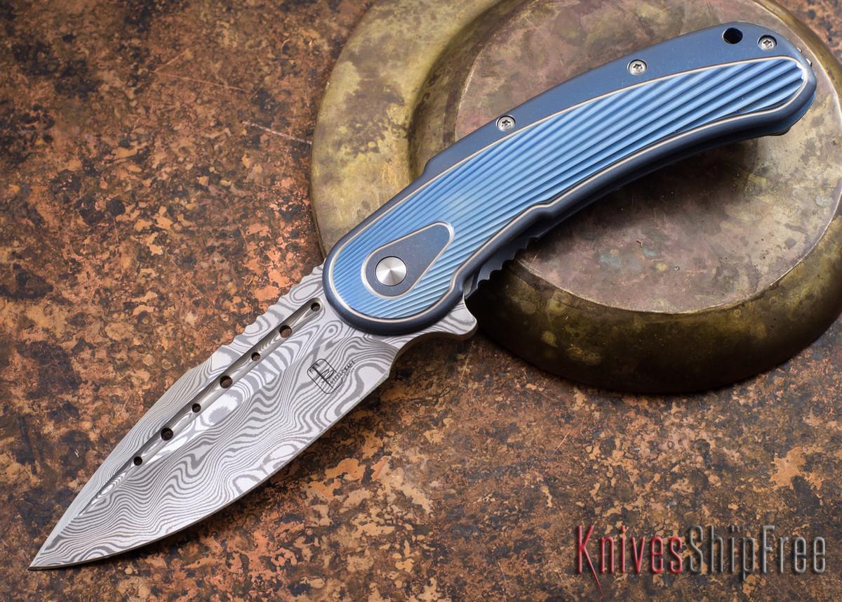 Todd Begg Knives: Steelcraft Series - Bodega - Blue Frame - Blue Fan Pattern - Damasteel - 009 primary image