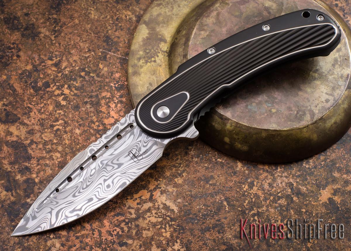 Todd Begg Knives: Steelcraft Series - Bodega - Black Frame - Black Fan Pattern - Damasteel - 013 primary image