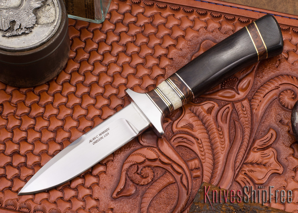 Alan Warren Knives: Boot Knife - Blackwood - Ironwood & Fossil Walrus Tusk Spacers - G-10 Pommel primary image