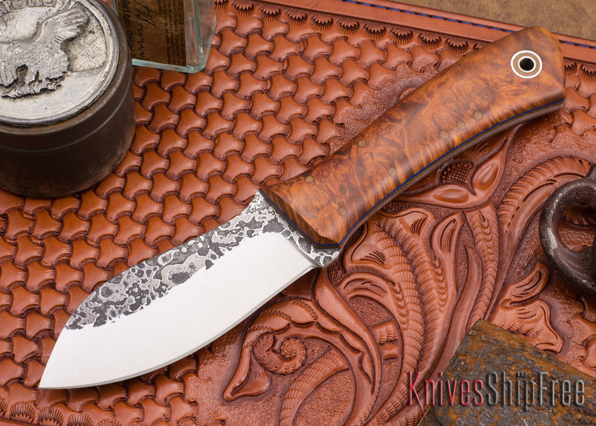 Fiddleback Forge: Nessmuk - Maple Burl - Natural & Blue Liners - A2 Steel primary image