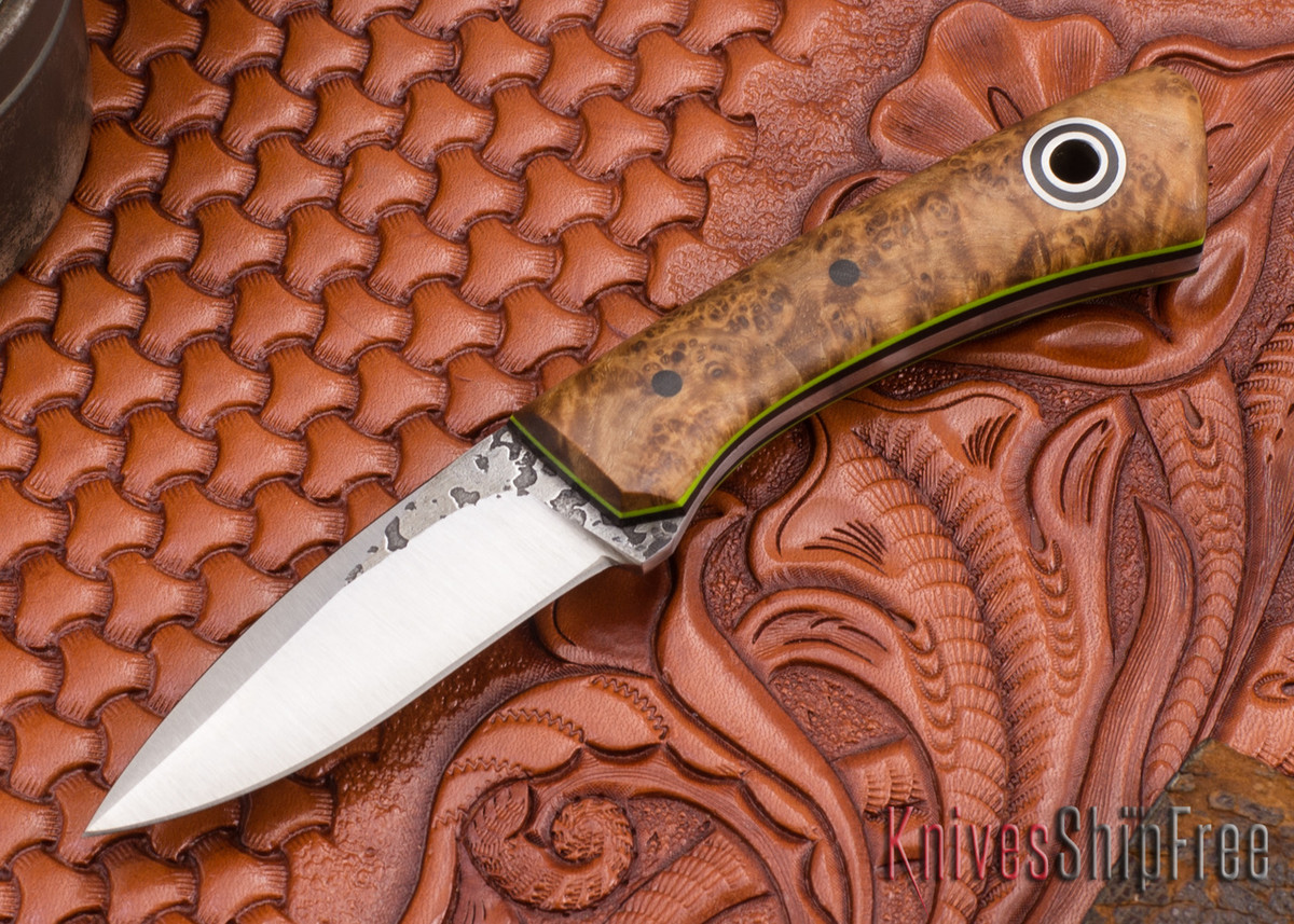 Fiddleback Forge: Babyboot - Maple Burl - Black & Lime Liners - A2 Steel primary image