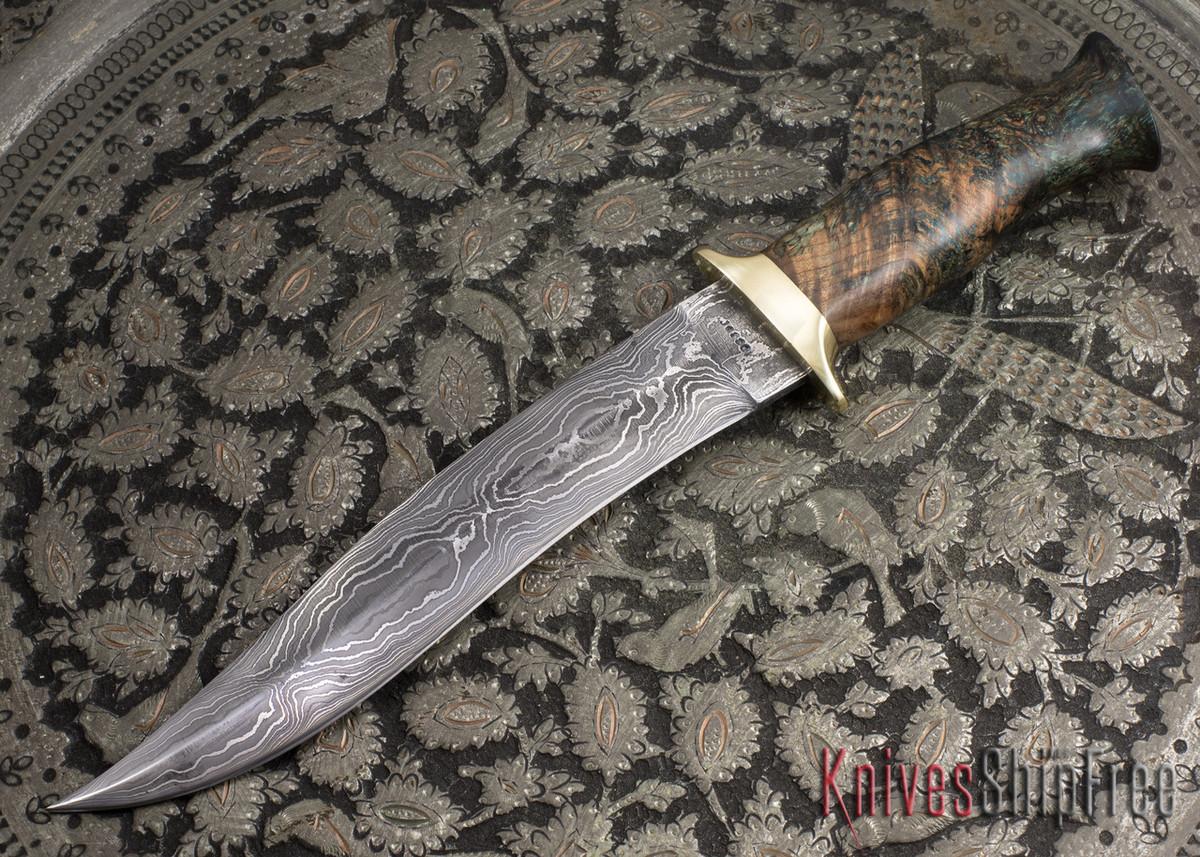 Jesse Hemphill Knives: Custom Damascus Serpentine Fighter - Dyed Burl primary image
