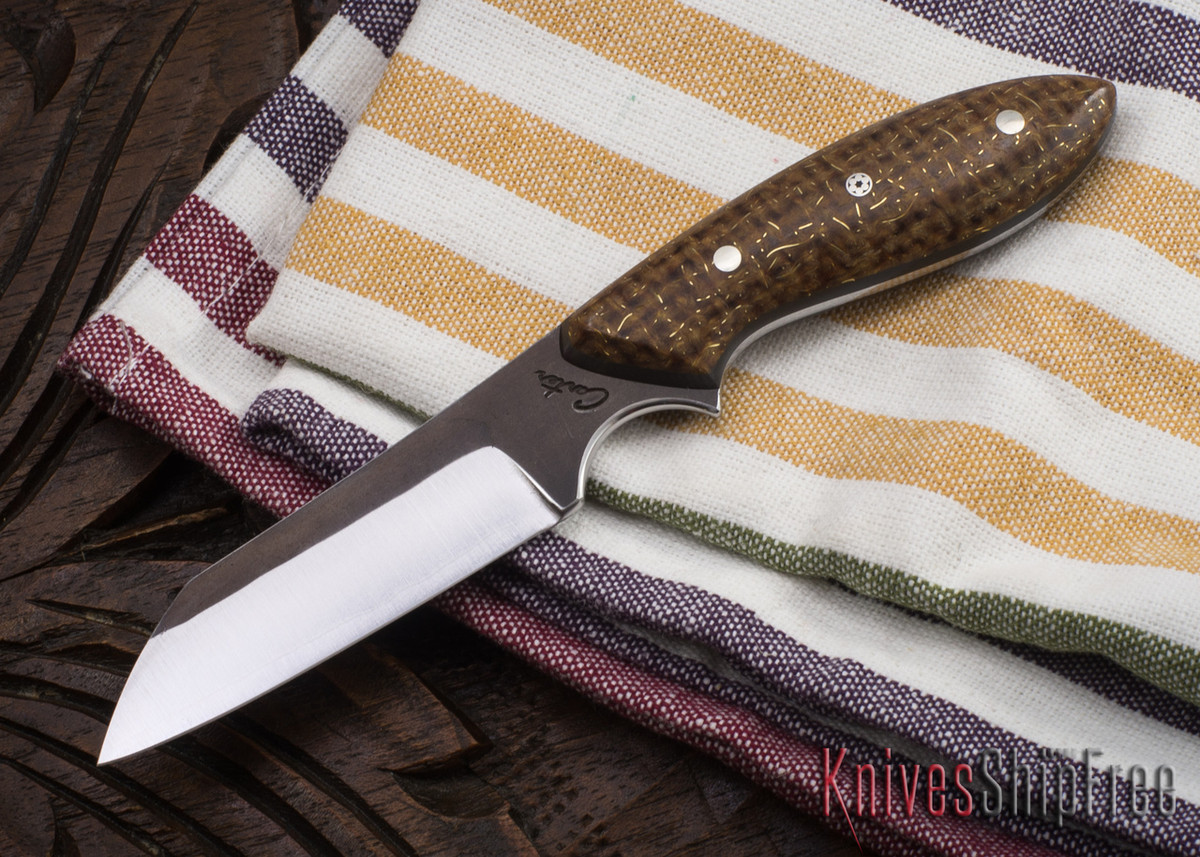 Carter Cutlery: #1140 Wharncliffe Brute Jr. - Flecked Burlap Micarta - Black Liners primary image