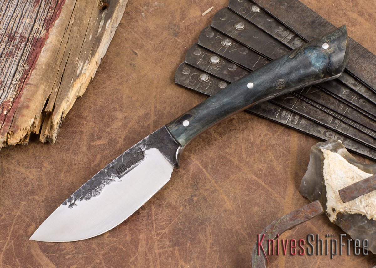 Lon Humphrey Knives: Custom Muley - Forged 52100 - Blue Burl #232 primary image
