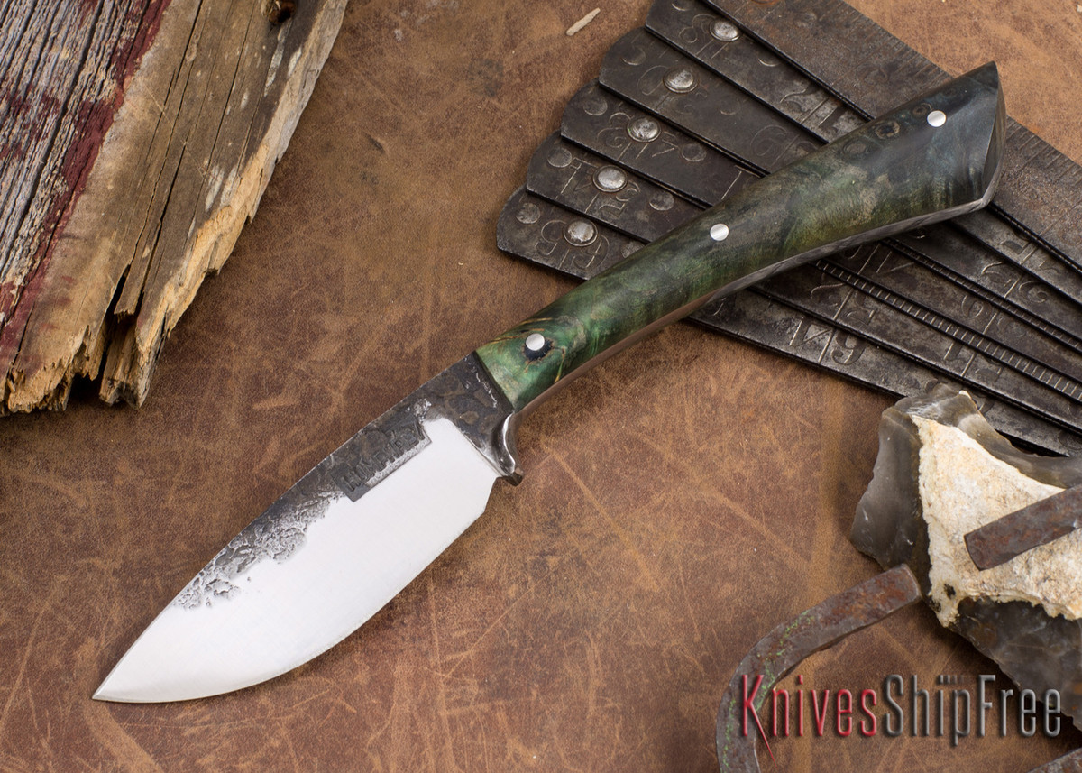 Lon Humphrey Knives: Custom Muley - Forged 52100 - Blue Burl #237 primary image