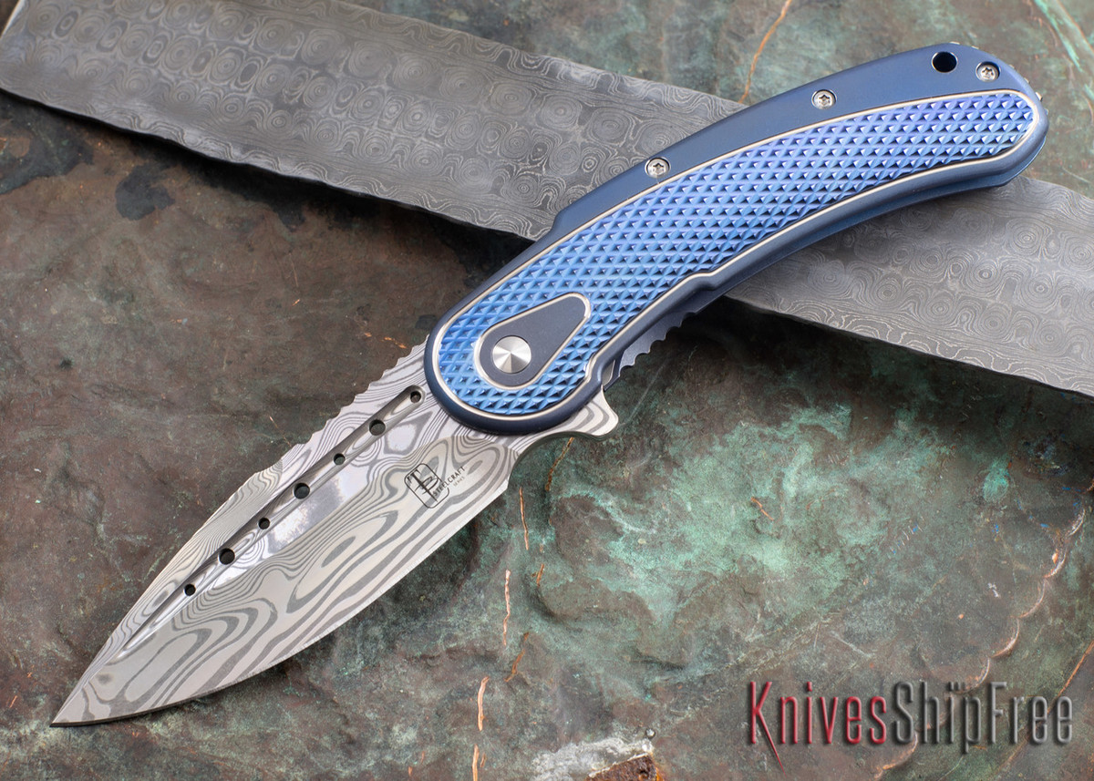 Todd Begg Knives: Steelcraft Series - Bodega - Blue Frame - Blue Diamond Pattern - Damasteel 103 primary image