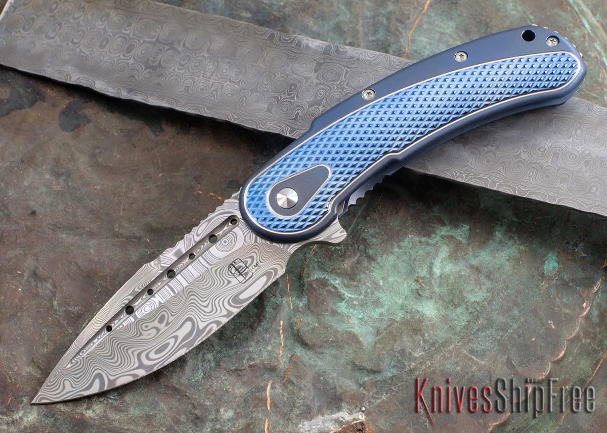 Todd Begg Knives: Steelcraft Series - Bodega - Blue Frame - Blue Diamond Pattern - Damasteel 105 primary image