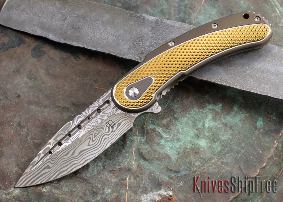 Todd Begg Knives: Steelcraft Series - Bodega - Bronze Frame - Gold Diamond Pattern - Damasteel 108 primary image