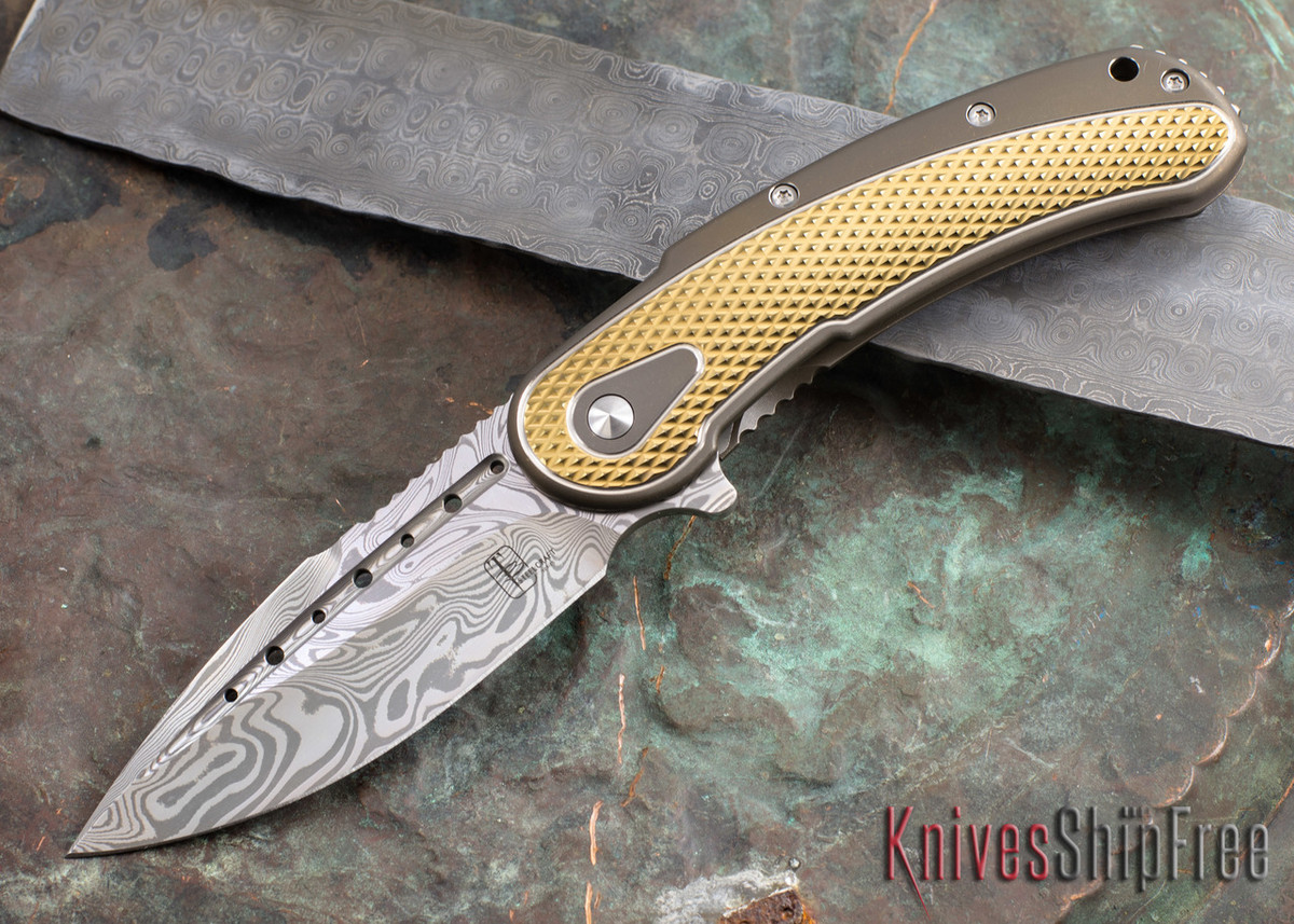 Todd Begg Knives: Steelcraft Series - Bodega - Bronze Frame - Gold Diamond Pattern - Damasteel 109 primary image