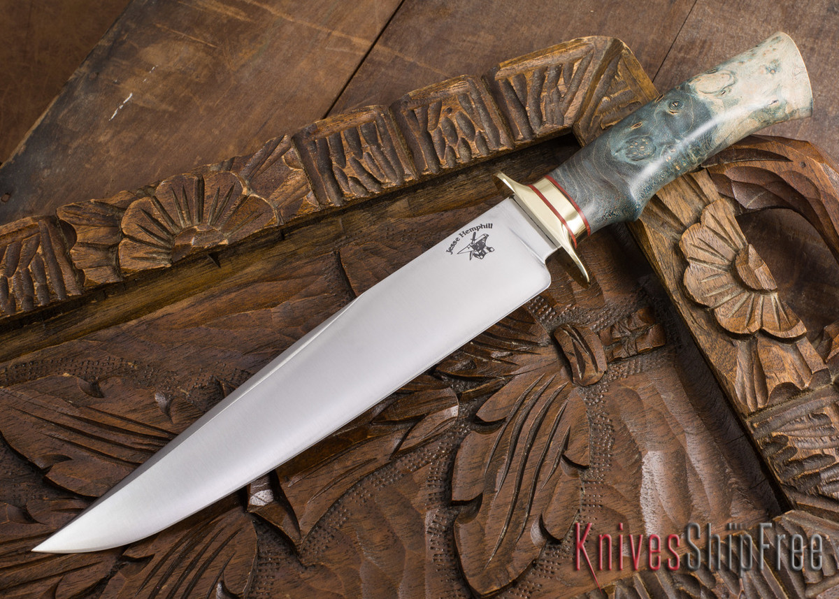 Jesse Hemphill Knives: Custom Bowie - Dyed Maple Burl - 80CrV2 Steel - 110706 primary image