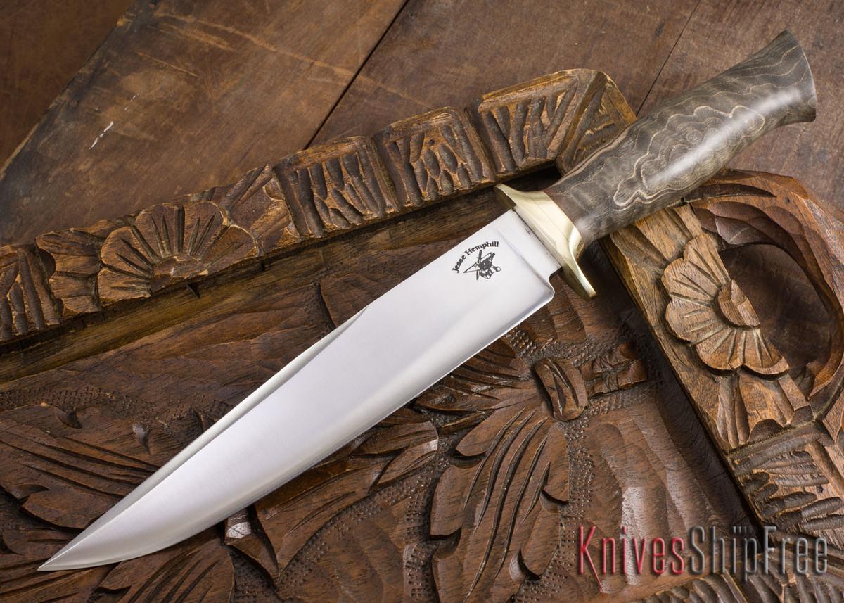 Jesse Hemphill Knives: Custom Bowie - Dyed Maple Burl - 80CrV2 Steel - 110707 primary image
