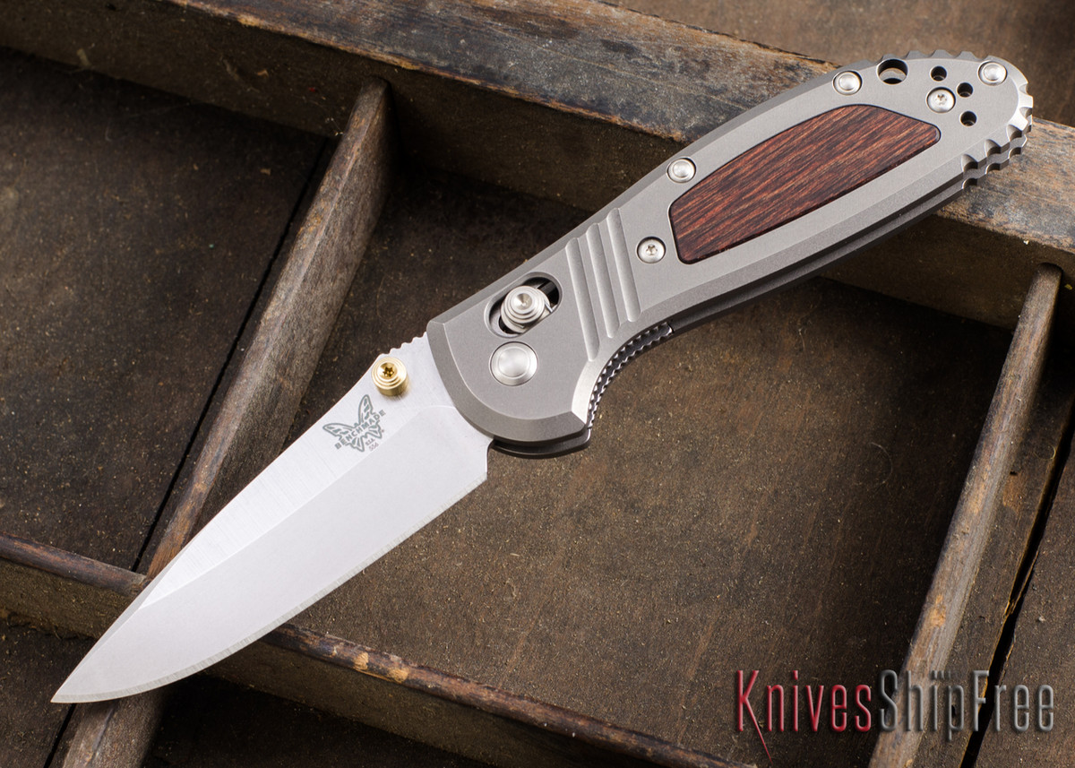 Benchmade Knives: 556-1701 Mini-Griptilian - Limited Edition - Titanium - Wood Inlay - CPM-20CV primary image