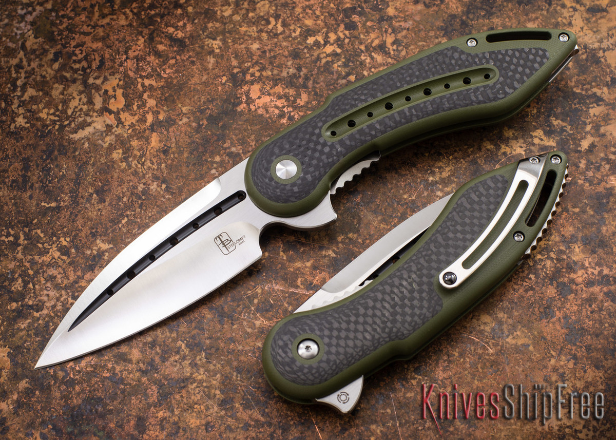 Todd Begg Knives: Steelcraft Series - Glimpse 7.0 - Green G-10 - Carbon Fiber Inlay - Fluted Blade primary image
