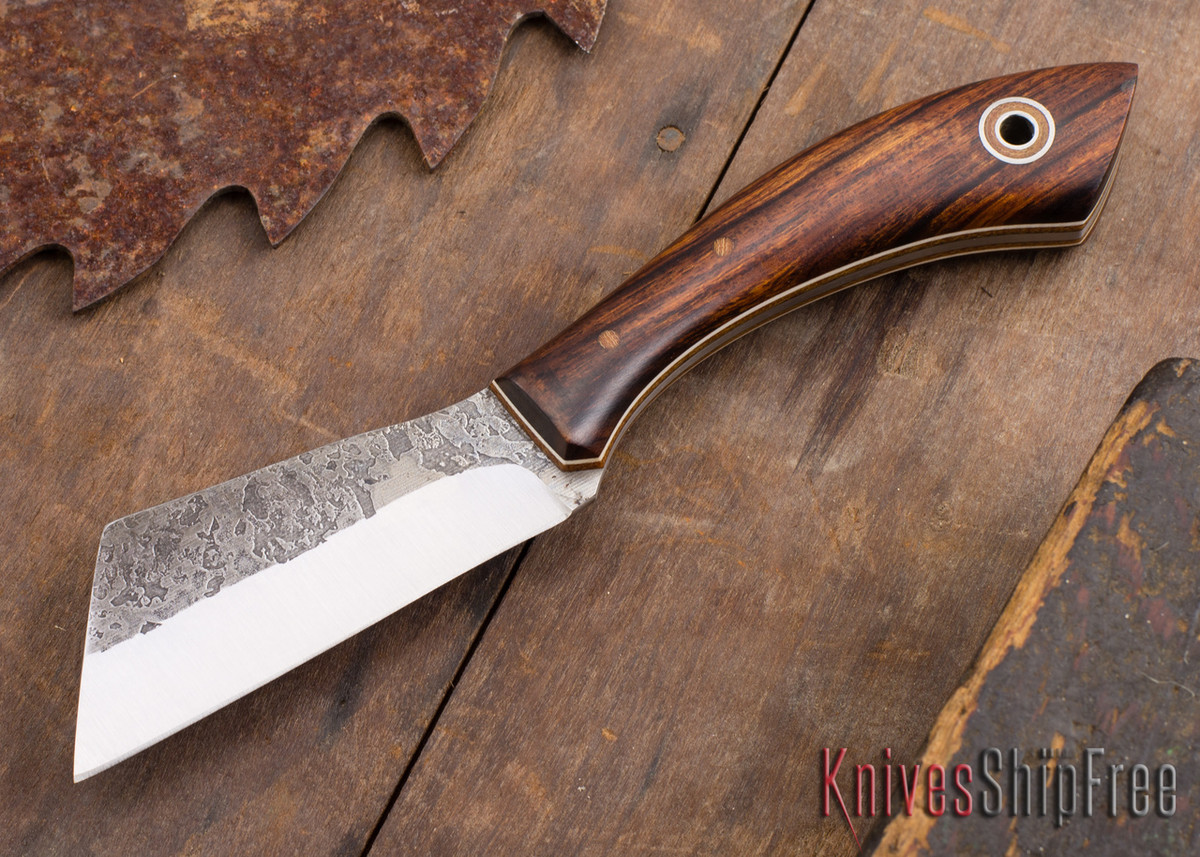 Fiddleback Forge: Bow Legged Belt Knife - Desert Ironwood - Natural & White - A2 Steel primary image