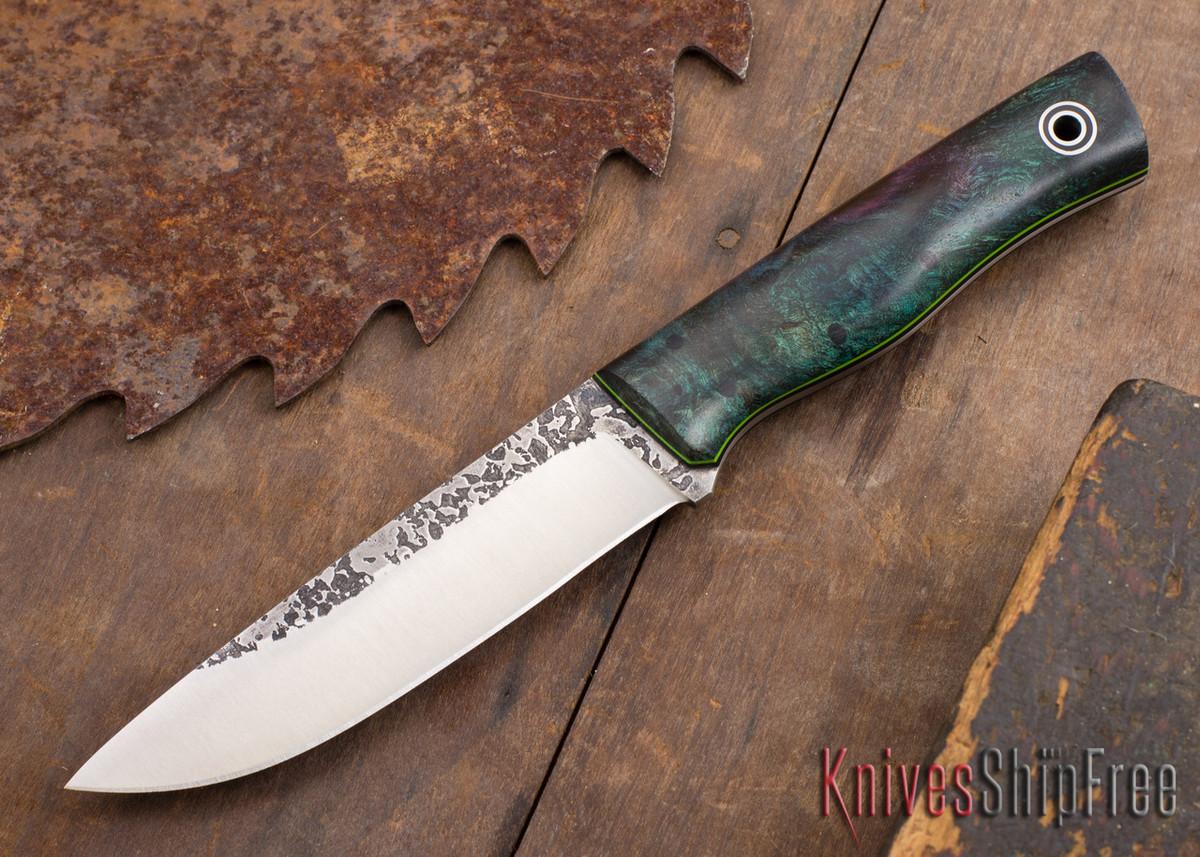 Fiddleback Forge: Leuku - Dyed Elder Burl - Black & Lime Liners - A2 Steel primary image