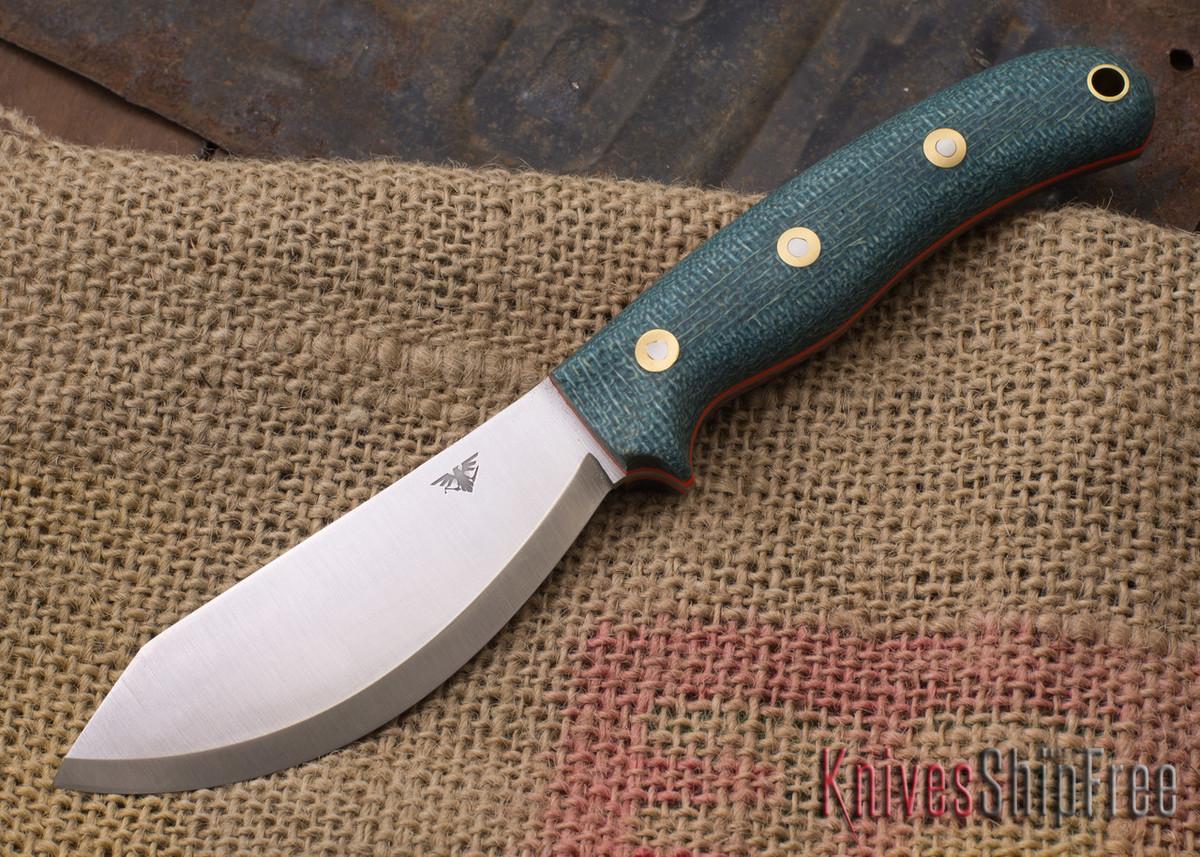 L.T. Wright Knives: JX2 Jessmuk - CPM 3V - Sapphire Burlap Micarta - Orange Liners primary image