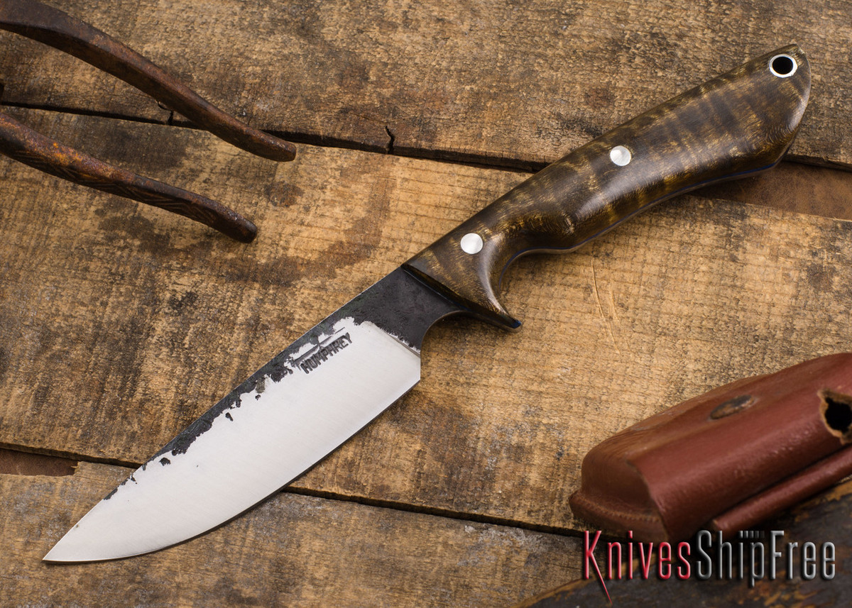 Lon Humphrey Knives: Bridger - Dark Curly Maple - Blue Liners #8 primary image
