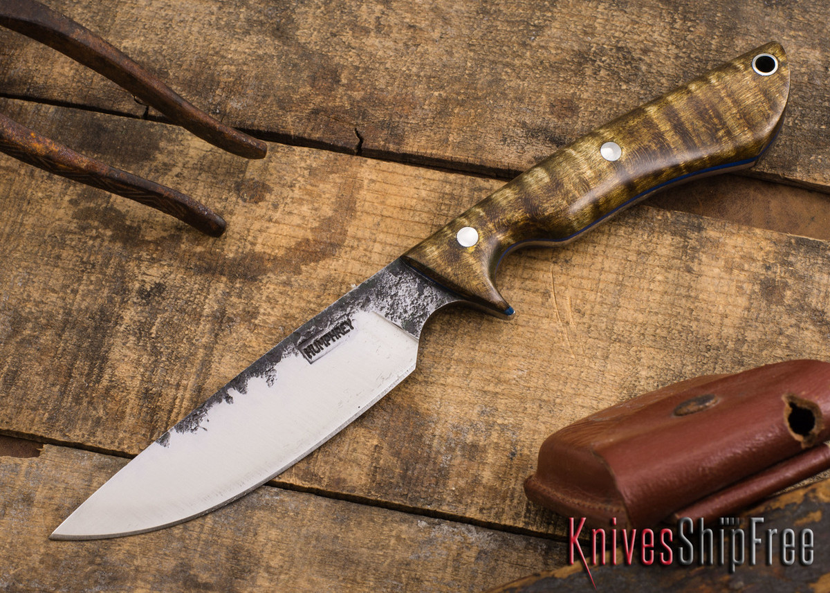 Lon Humphrey Knives: Bridger - Dark Curly Maple - Blue Liners #2 primary image
