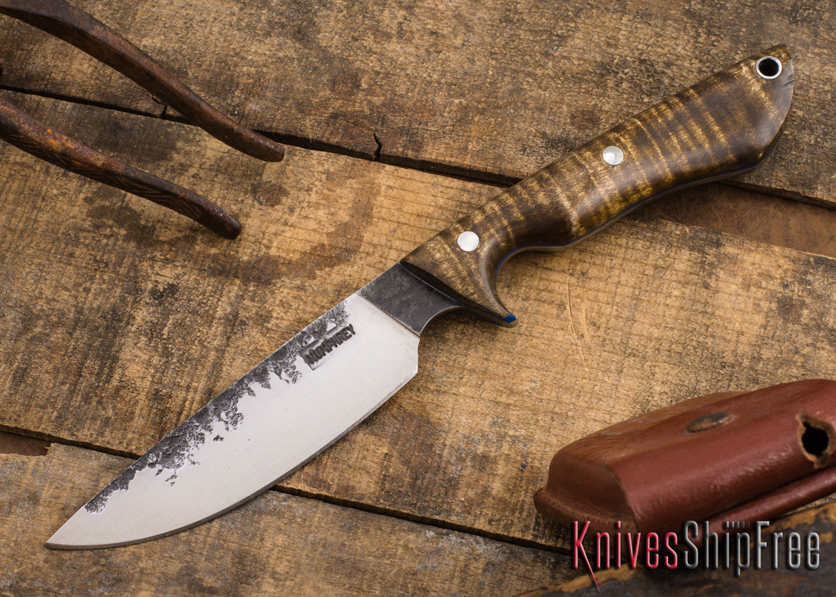 Lon Humphrey Knives: Bridger - Dark Curly Maple - Blue Liners #4 primary image
