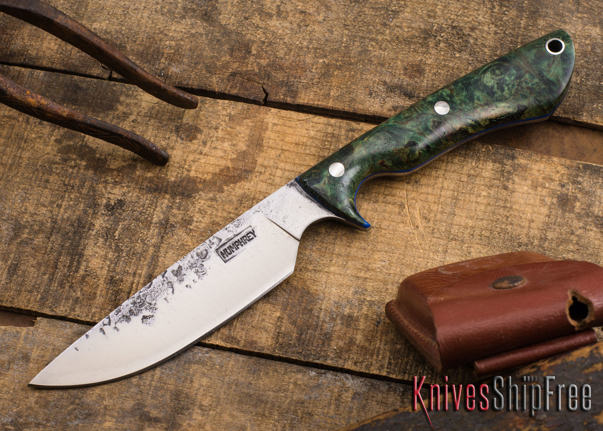Lon Humphrey Knives: Bridger - Green Maple Burl - Blue Liners #3 primary image